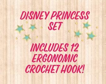 Princess ergonomic crochet hook SET,   12 individual crochet hooks, polymer clay crochet hooks, handmade crochet hooks, crochet hooks, set