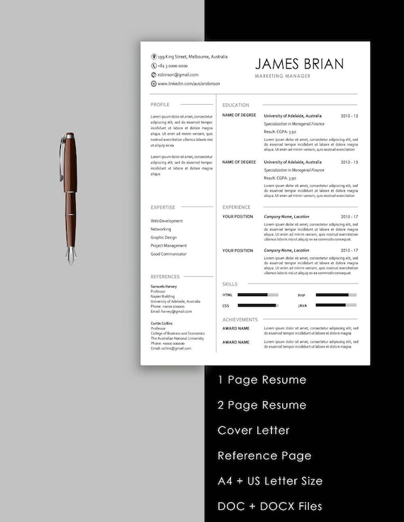 Resume Template Instant Download 1 Page Resume 2 Page Resume Cover Letter Cv Design Professional Resume Creative Resume Cv Template
