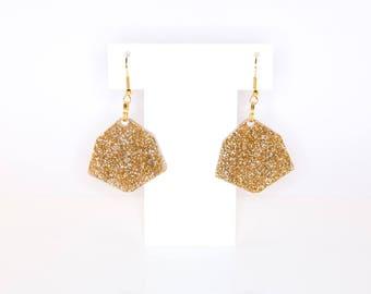 IRREGULAR HEXAGON; Glitter Perspex Earrings