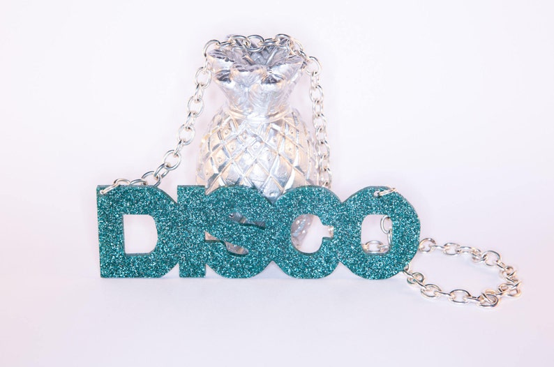 DISCO Glitter Perspex Statement Necklace image 0