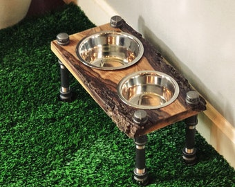 Warner Style Raised Dog Feeder made from Rescued Black Walnut with Live edge w/ Bark and Black Pipe.  Perfect for smaller mid-sized dog!