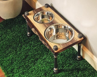 Warner Style Raised Dog Feeder made from Reversible Rescued Black Walnut with Live edge w/ Bark & Black Pipe.  Perfect for midsize dog!
