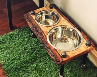 Warner Style Raised Dog Feeder made from Rescued Live Edge Red Oak & Black Pipe.  Perfect for mid-sized dog! Free Shipping!