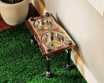 Warner Style Raised Dog Feeder made from Reversible Rescued Walnut with Live edge w/ Bark & Black Pipe.  Perfect for smaller to midsize dog!
