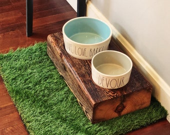 Cherokee Style Raised Dog Feeder made from reclaimed barn wood beam and Rae Dunn Ceramic Bowls. Perfect for the mid sized dog!