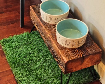 Cherokee Style Raised Dog Feeder made from reclaimed barn wood, hairpin legs and 2 Rae Dunn XL Bowls.  Perfect for larger dogs.