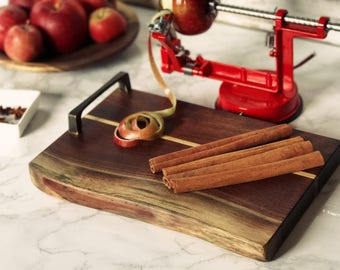 Monona Style Serving Platter/Cutting Board Handcrafted in Black Walnut and Maple Urban Wood with handle.  Free Shipping!