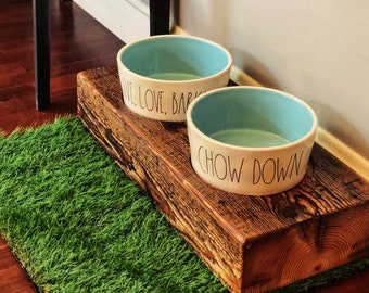 Cherokee Style Raised Dog Feeder made from reclaimed barn wood beam and Rae Dunn Ceramic Bowls. Perfect for the mid sized to larger dog!