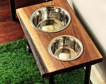 Warner Style Raised Dog Feeder made from Rescued Black Walnut with Live edge w/ Bark & Black Pipe.  Perfect for midsize dog!