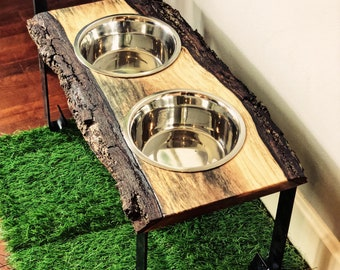 Warner Style Raised Dog Feeder made from Rescued Live Edge Walnut and Rolled Flat Bar steel legs.  Perfect for larger dog! Free Shipping!