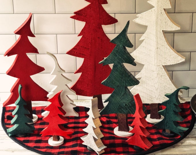 Featured listing image: Whimsical Wooden Christmas Trees Handmade in assorted sizes and colors - Holiday Decor