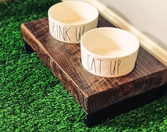 Cherokee Style Raised Dog Feeder made from reclaimed barn wood and channel steel legs w/ Rae Dunn Ceramic Bowls. Perfect for smaller dogs!