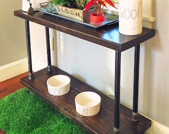 Custom Order Verona Style Raised Dog Feeder w/ Rare Dunn Dog Bowls Built into Industrial Style Console Table.