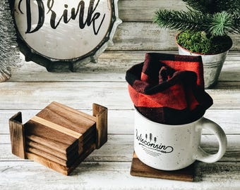 Small Accented State Street style Mixed Rescued Wood Coasters.  Set Of 4 w/ caddy.  Free Shipping!