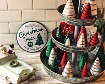 Wooden Christmas Trees Hand-turned in assorted sizes and colors - Holiday Decor