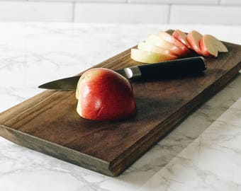 6x16 Monona Style Serving Platter/Cutting Board w/ Live Edge Handcrafted in Black Walnut.  Free Shipping.