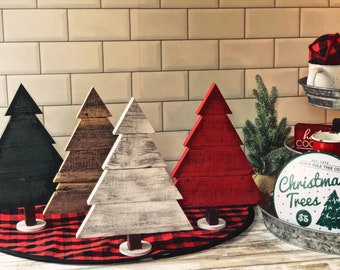 Rustic Wooden Christmas Trees Made from Reclaimed WI Barnwood in assorted sizes and colors - Holiday Decor