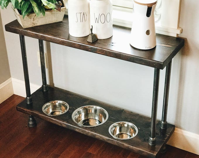 Featured listing image: Custom Order Verona Style Raised Dog Feeder Built into Industrial Style Console Table.