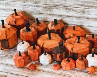Handmade Wooden Pumpkins made from reclaimed barnwood with hand carved stems.  Sold in groups!