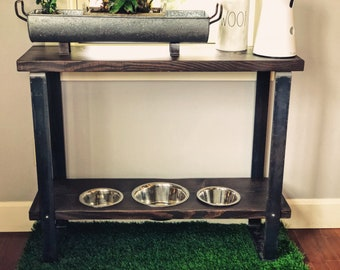 Custom Order Verona Style Console Table and Raised Dog Feeder made with Flat Bar Steel legs.  Fully Customizable eating height! .