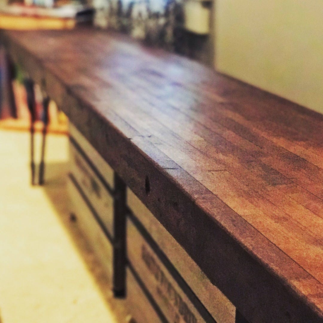 Astounding Atwood Style Reclaimed Bowling Alley Bench With Hairpin Legs Gmtry Best Dining Table And Chair Ideas Images Gmtryco