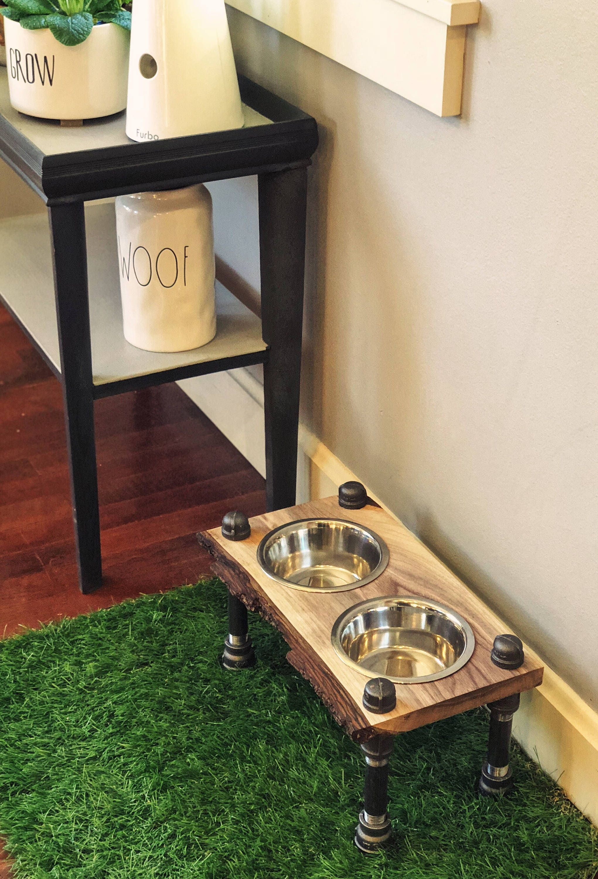 Warner Style Raised Dog Feeder Made From Rescued Black Walnut With