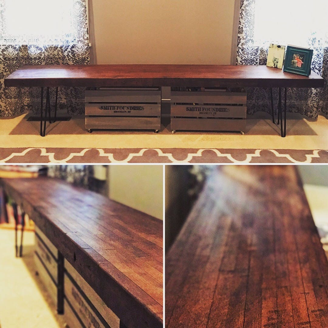 Strange Atwood Style Reclaimed Bowling Alley Bench With Hairpin Legs Gmtry Best Dining Table And Chair Ideas Images Gmtryco