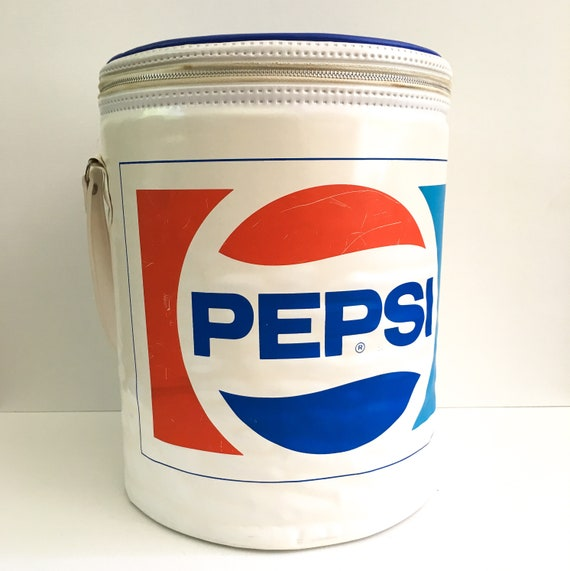 Made in the USA Pepsi Memorabilia 1980s Pepsi Collectible Vintage Pepsi Insulated Zipper Picnic Cooler Bag with Carry Handle