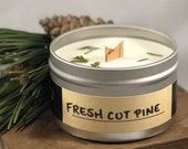 Fresh Cut Pine - Wood Wick, Handcrafted Soy Wax Scented Candle, Pine, Woodland, Natural, Bridesmaid Gift, Wedding Favor, Woods, Fresh Air