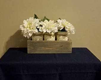 Distressed Mason Jar Centerpiece / Decorative Storage– 3pc Pint size w/Color Choice & Wood Holder in Weathered Gray –Ready to Ship!