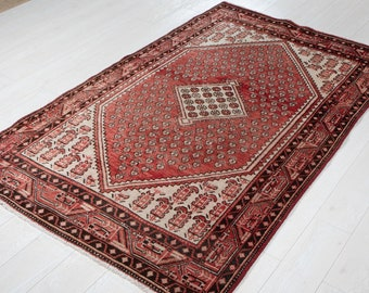 """Vintage Rug 4x7 Faded Red 6' 9"""" x 4' Hand-Knotted Antique Low Pile Turkish Wool Carpet In Excellent Condition #3183"""