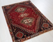 4.9ft x 3.45ft Excellent hand knotted tribal small Caucasian antique rug low pile boho handmade faded red vintage oriental wool carpet 1334