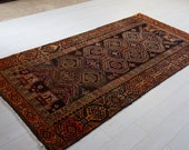 8.3 x 4.03ft Excellent hand knotted Caucasian vintage low pile worn area rug handmade faded rustic orange antique oriental wool carpet 1420