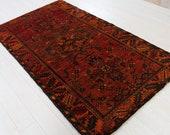 7ft x 3.88ft Excellent hand knotted Turkish vintage wool rug, low pile red antique oriental handmade golden washed carpet 1348