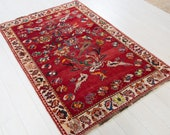 5.7ft x 3.87ft Excellent hand knotted Turkish antique rug low pile handmade faded red vintage oriental wool carpet 1347