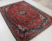 8.36ft x 5.77ft Excellent hand knotted large Turkish vintage area rug, boho handmade faded red beige antique oriental wool carpet 1162