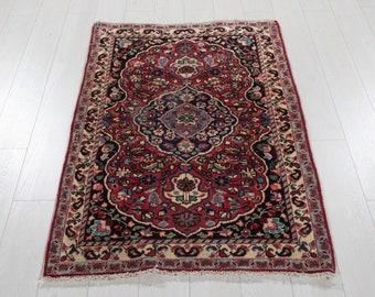 Mini Rug Handmade Beige Decorative Wool Carpet Vintage Small Turkish Rug 2x3 Housewarming Gifts #2318