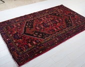 7.12ft x 4.36ft Excellent hand knotted Caucasian vintage soft area rug, boho handmade red navy antique oriental wool carpet 1443