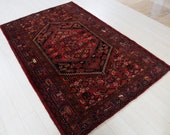 6.92ft x 4.5ft Excellent hand knotted Turkish vintage wool rug, low pile faded red antique oriental handmade tribal carpet 1337