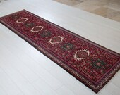 9.45ft x 2.66ft Excellent hand knotted tribal Caucasian vintage runner rug, low pile handmade red boho geometric hallway wool carpet 1514