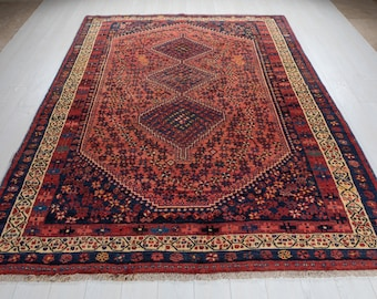 """9'1"""" x 6'6"""" Excellent Hand-Knotted Vintage Collectible Tribal Area Rug 7x9 Low Pile Soft Faded Red Rustic Nomadic Antique Wool Carpet #2675"""