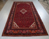 10ft x 5.2ft Excellent hand knotted Turkish large antique area rug, low pile handmade red vintage oriental wool carpet 1520