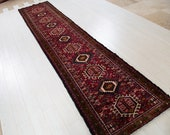 12.63ft x 2.66ft Excellent hand knotted Caucasian antique long runner rug, low pile handmade red large hallway wool carpet 1126