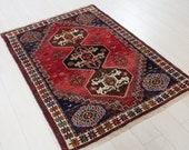 4.9ft x 3.45ft Excellent hand knotted tribal small Caucasian antique rug low pile boho handmade faded red vintage oriental wool carpet 1349