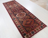 9.61ft x 3.21ft Excellent hand knotted tribal Caucasian worn vintage runner rug, low pile faded navy blue hallway wool carpet 1333