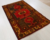 6.63ft x 4.2ft Excellent hand knotted Caucasian vintage wool rug, low pile red antique oriental handmade golden washed carpet 1346