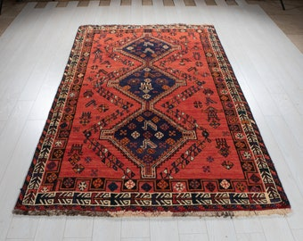 """8' 3"""" x 5' Excellent Hand-Knotted Vintage Faded Red Tribal Afghan Rug 5x8 Handmade Nomadic Wool Carpet #2688"""