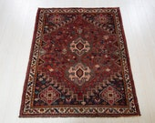 5.55ft x 4.36ft Excellent hand knotted tribal Caucasian worn antique wool rug, low pile faded red boho handmade tribal carpet 1339