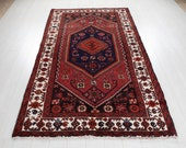 7 39 11 quot x 4 39 6 quot Excellent Hand-Knotted Soft Red Tribal Rug 4x8 Handmade Vintage Wool Carpet 2910