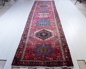 13.8ft x 3.64ft Excellent Hand-Knotted Caucasian Antique Runner Rug 14 39 Long Handmade Faded Red Low Pile Geometric Hallway Carpet 2228